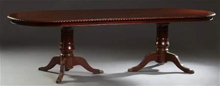 English Carved Mahogany Georgian Style Double Pedestal