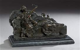 Patinated Bronze Figural Group 21st c depicting two