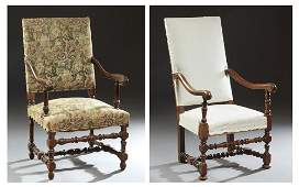 Two French Louis XIII Style Carved Oak Fauteuils, early