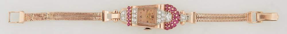 Lady's Art Deco 14K Rose Gold Bulova Dress Watch, c.