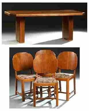 English Carved Walnut Art Deco Dining Set, c. 1940,