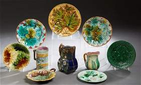 Group of Ten Pieces of French Majolica, 19th c.,