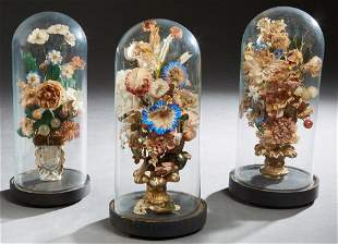 Three English Victorian Display Domes, 19th c., with