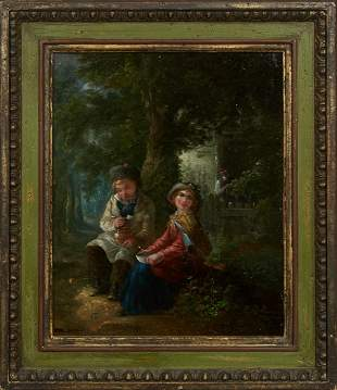 "Paul Doyle, ""Two Children Eating Lunch,"" 20th c., oil"