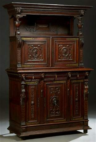 Henri II Style Carved Oak Sideboard, c. 1880, the