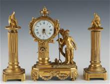Diminutive Three Piece French Gilt Bronze Clock Set
