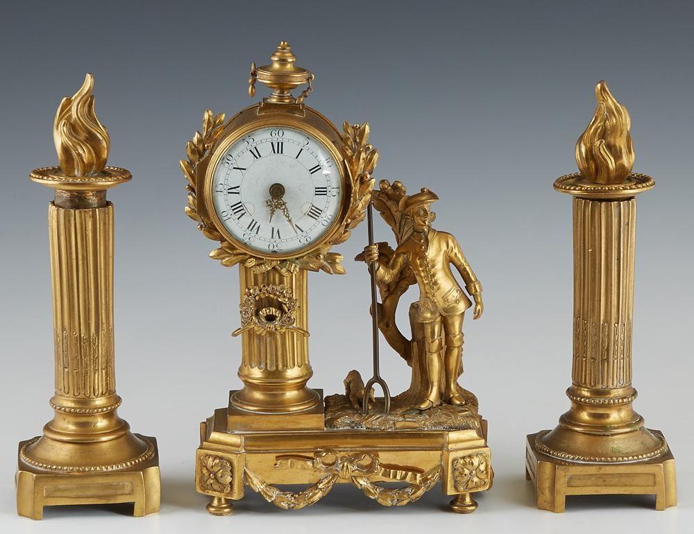 Diminutive Three Piece French Gilt Bronze Clock Set,