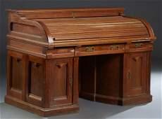 American Carved Oak Wooten Style Roll Top Desk, late