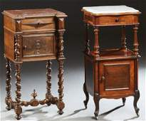 Two French Marble Top Nightstands, 19th c., consisting