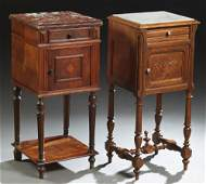 Two French Henri II Style Carved Walnut Marble Top