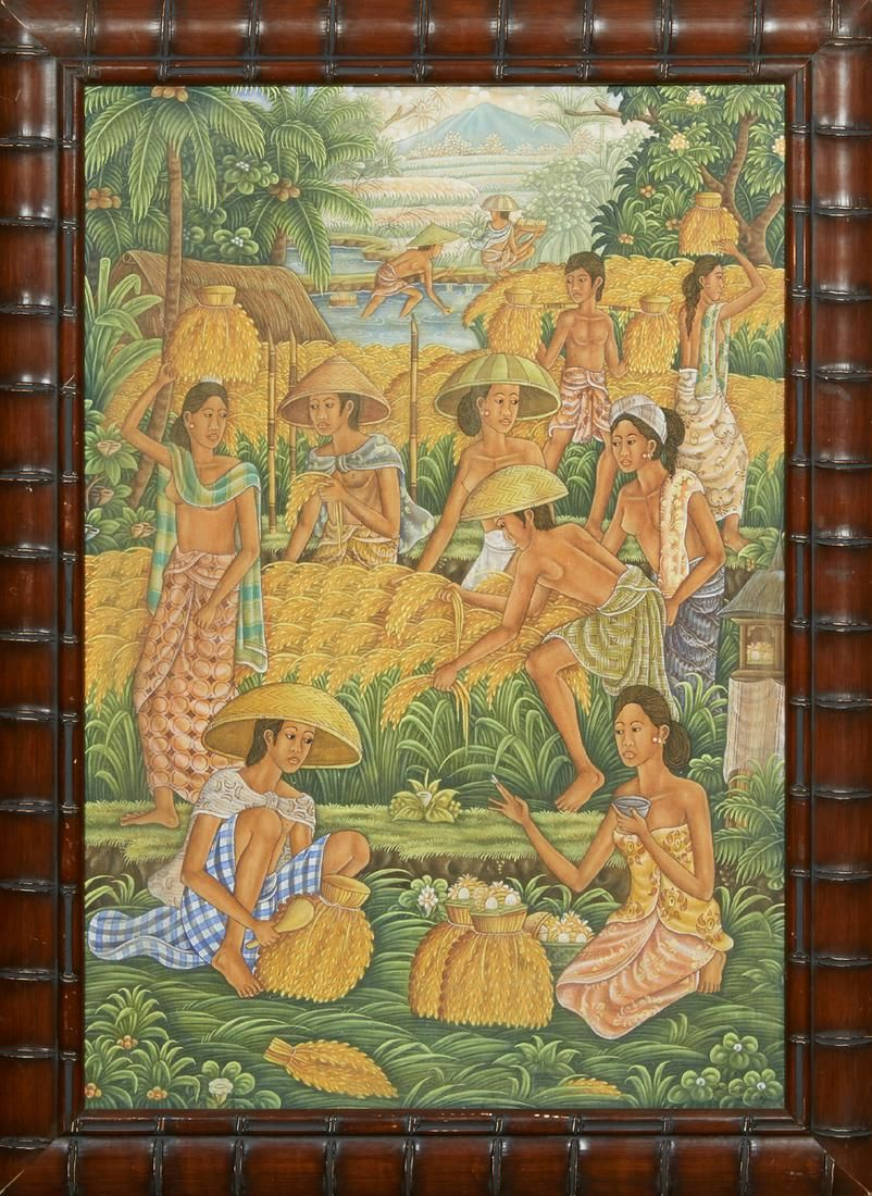 """Balinese School, """"Women at Daily Chores,"""" 20th c., oil"""