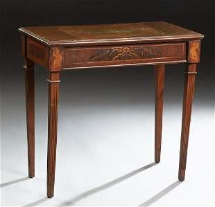 Continental Inlaid Mahogany Side Table, c. 1900, the