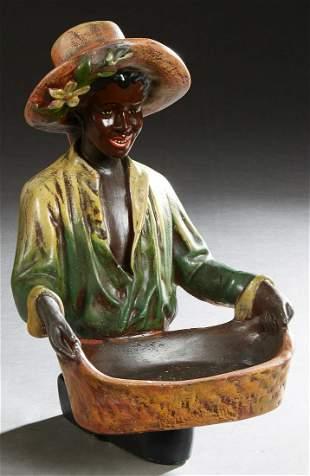 African American Figural Polychromed Ceramic Calling