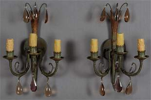 Pair of Bronze Three Light Sconces, c. 1940, the
