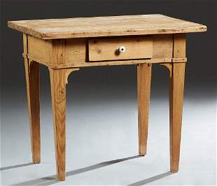 Louisiana Carved Pine Kitchen Table, c. 1900, the