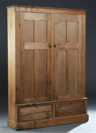Large Louisiana Carved Pine Bookcase, late 19th c., the