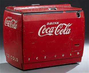 Large Vintage Coca Cola Cooler Machine, the top with