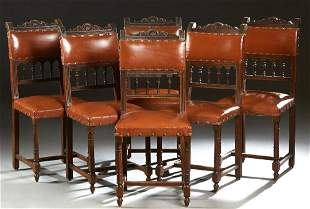 Set of Six Henri II Style Carved Walnut Dining Chairs,