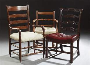 Group of Three English Carved Chairs, 19th c.,