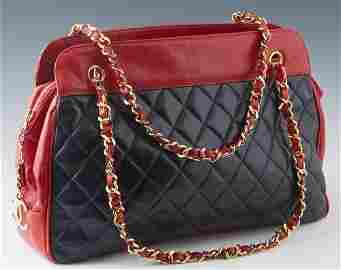 Chanel Black and Red Lambskin Chain Shoulder Bag, with