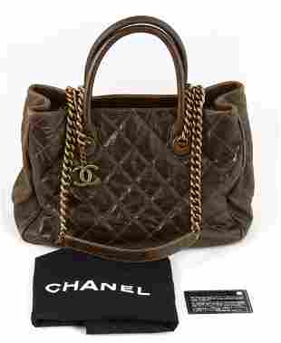 Chanel Dark Brown Calf Leather Caviar Quilted Logo