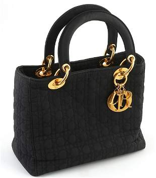 Christian Dior Black Cannage Canvas Lady Dior Handbag,