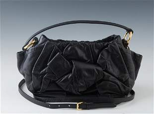 Prada Leather Shoulder Bag, the front with a ruched