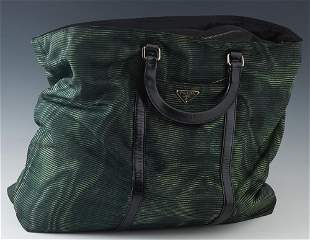 Dark Green Prada Nylon Handbag, with black leather