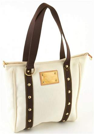 Louis Vuitton Ivory and Brown Canvas MM Antigua Cabas