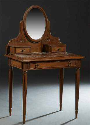 French Art Nouveau Carved Walnut Marble Top Dressing