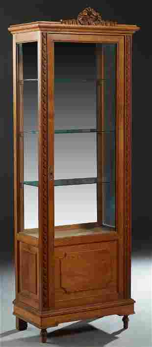 French Louis XVI Style Carved Oak Vitrine, early 20th
