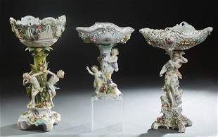 Group of Three Porcelain Dresden Style Figural
