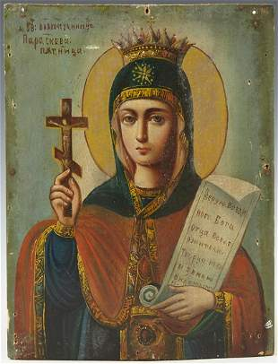 Russian Icon of the St. Paraskeva, 19th c., oil on