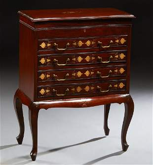 English Style Carved Mahogany Silver Chest, 20th c.,