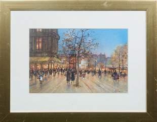 "Paul Renard (1941-1997, French), ""Paris Street Scene,"""