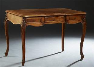 French Louis XV Style Carved Inlaid Walnut Desk, late