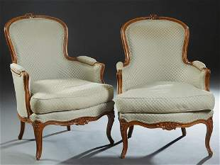 Pair of French Carved Beech Louis XV Style Bergeres,