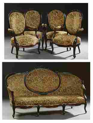 French Louis XV Style Carved Beech Parlor Suite, early