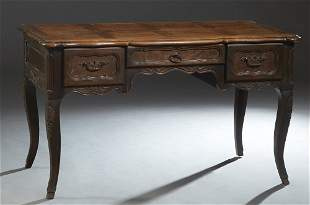 French Provincial Carved Elm Louis XV Style Desk, 19th