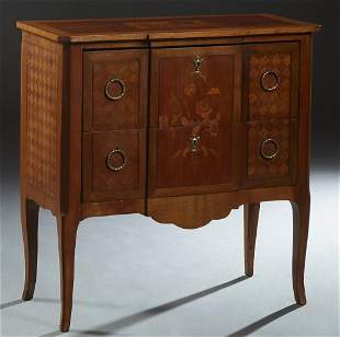 French Louis XV Style Inlaid Carved Mahogany Commode,