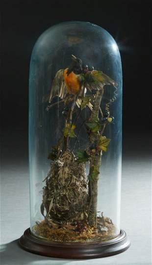 Tall Victorian Circular Blown Glass Taxidermied Bird