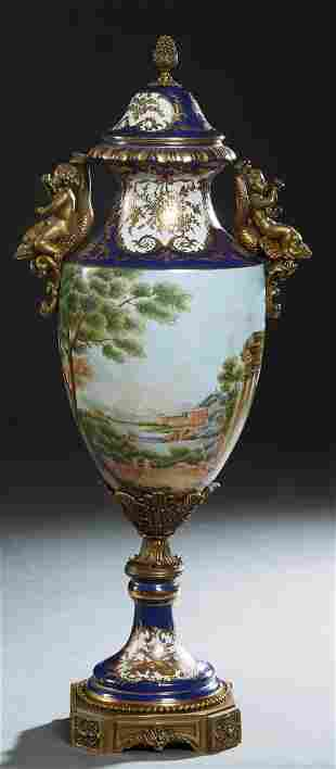 Sevres Style Bronze Ormolu Mounted Covered Porcelain
