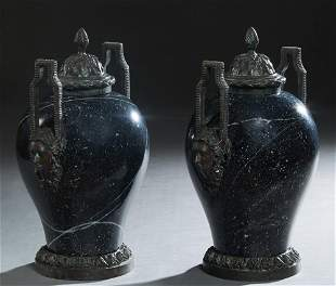 Pair of Bronze Mounted Empire Style Black Marble