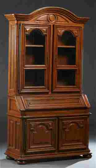 French Louis XIV Style Carved Oak Secretary Bookcase,