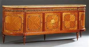 Louis XVI Style Carved Walnut Marble Top Sideboard,