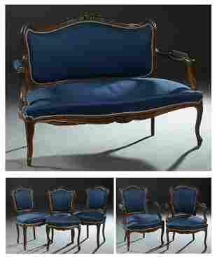 French Louis XV Style Carved Walnut Six Piece Parlor