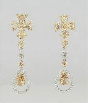 Pair of 14K White and Yellow Gold Pendant Earrings, the