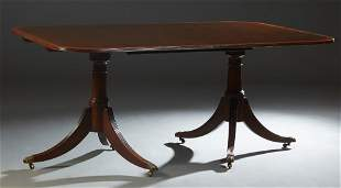 Georgian Style Banded Mahogany Double Pedestal Dining