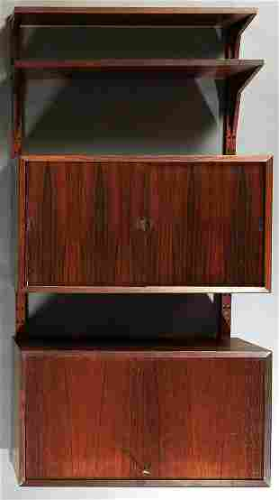 Mid Century Modern Carved Rosewood Bookshelf, 20th c.,