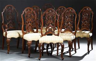 American English Style Carved Walnut Set of Eight (6